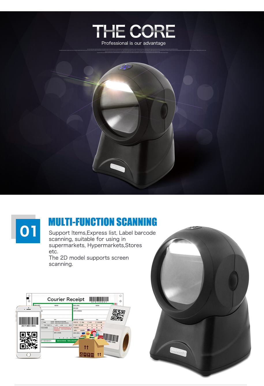 Supermarket scanner wired 1d handheld Omni-Directional Barcode Scanner code reader