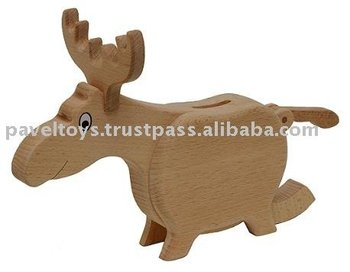 Wooden reindeer - money box