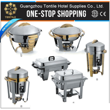 Stainless steel hotel restaurant buffet round gold accented soup chafing dish with food pan