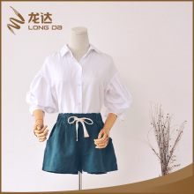 Longda professional new plain dyed linen cotton woven ladies fancy shorts