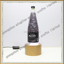 new design acrylic led wine bottle rotate sparkling wine display glorifier base for bar