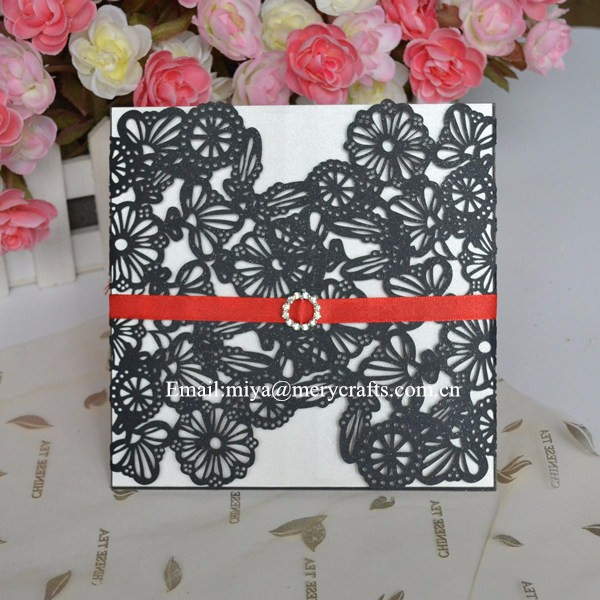 black wedding invitations with white insert,laser cut satin wedding invitations kit