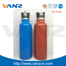 double wall vacuum insulated wide mouth stainless steel 600ml sports water bottle straw cover