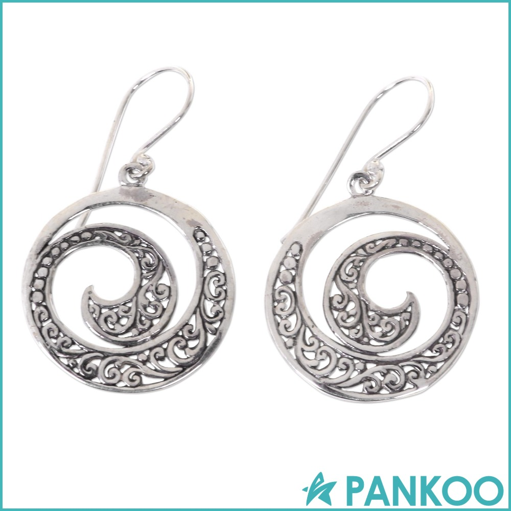 2016 New Style 925 Sterling Silver Elegant Hollow Moon shaped Balinese Round Earrings For Women
