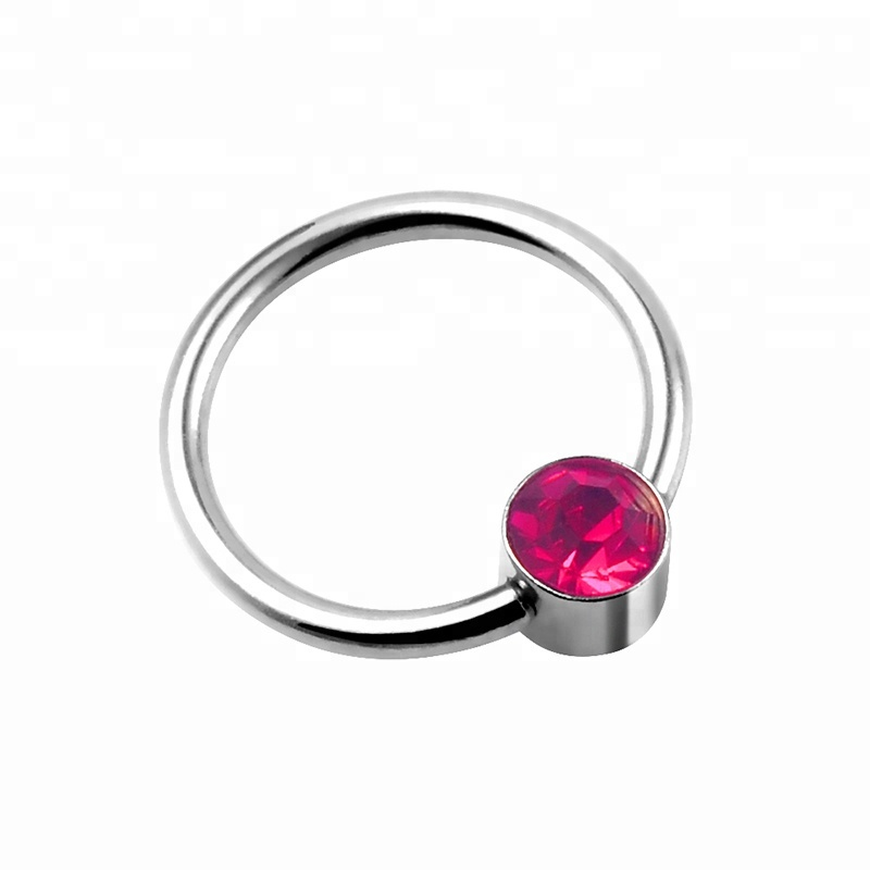 Jeweled 16g Captive Bead Ball Closure Nose Ring Body Jewelry