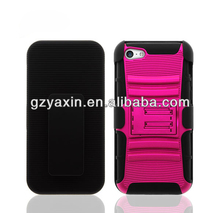 For iPhone 5c Hot Pink Cover Case + Hot Pink Belt Clip Holste With Stand
