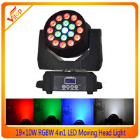 LED Light Source and Moving Head Lights Type wash moving head 10w RGBW quad color 19pcs LED