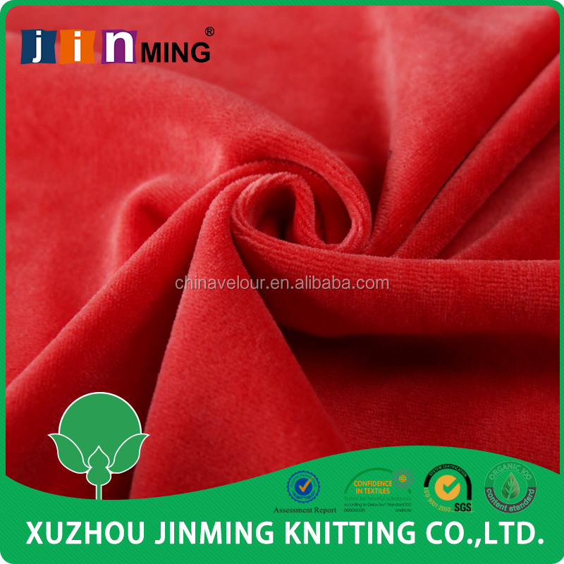 red Cotton Modal Polyester Solid Plain Dyed cvc 75 25 Velour Fabric for baby clothing