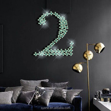 Syene 3d flower wall art decorative wall stickers blue mirror acrylic crystal self-adhesive flower stickers living room decor