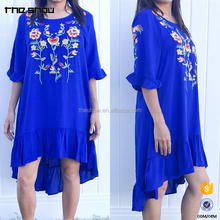 OEM modern design wholesale custom embroidered ruffle western tunic dress design