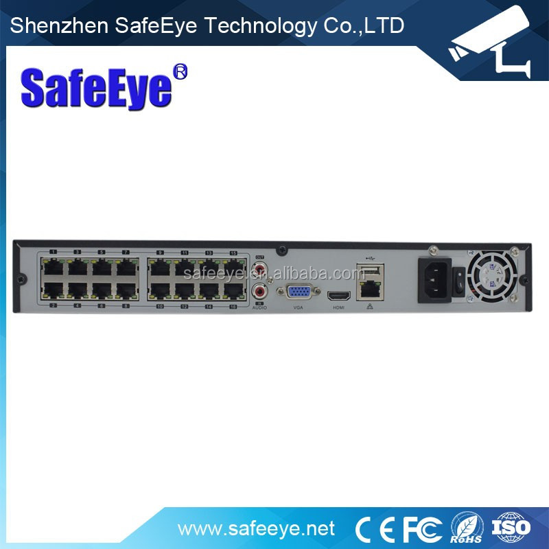 16CH NVR with 16 POE Ports H.264 16CH 1080P Network CCTV P2P POE NVR