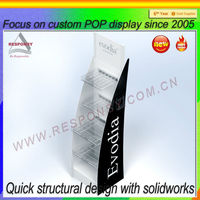 custom POP shopping mall supermarket clear acrylic tiers display shelf
