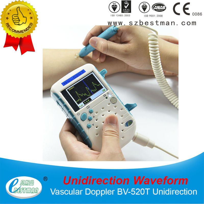 CE Waveform sonography medical handheld Vascular Doppler BV-520T with TFT LCD,8Mhz probe