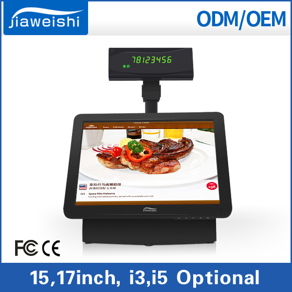 Cheap 15'' Restaurant Touch Screen POS System electric modern Cash Register