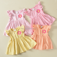 kL-DS-048 Wholesale Sleeveless Loose Frock 0-6 Years Old Baby Girls Dresses Latest Vertical Stripes Design Girls Dress