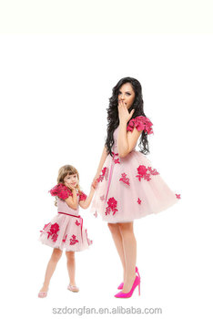 Latest 2016 Fuchsia Tulle Embroidered Dress Mother and Daughter Sets Family matching outfit Mommy and me Dress Sets