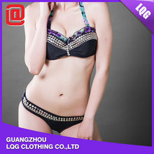Waterproof rivets decorated beautiful girls transparent bikini