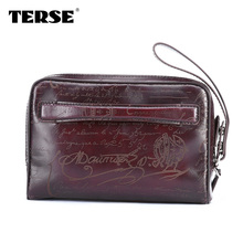 TERSE 2017 brand vintage mens handbags mens clutch bag handcrafted in Italian calf leather soft leather custom bag for men