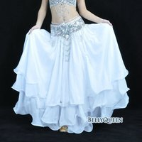 white chiffon bellydancing skirt,bellydance costumes,belly dance outfits,bellyqueen