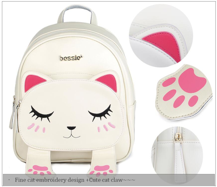Novelty school supplies animal cat PU leather backpack bulk bagpack shops