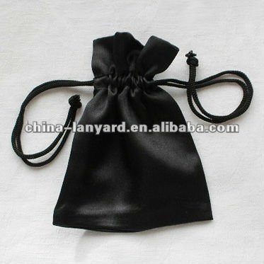 chinese satin jewelry pouches/black satin pouch/custom satin gift pouch