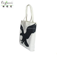 Customize High Quality Printed Reusable White Eagle Cotton Canvas Shopping Tote Bag Women Gift Bag Hangbag wholesale