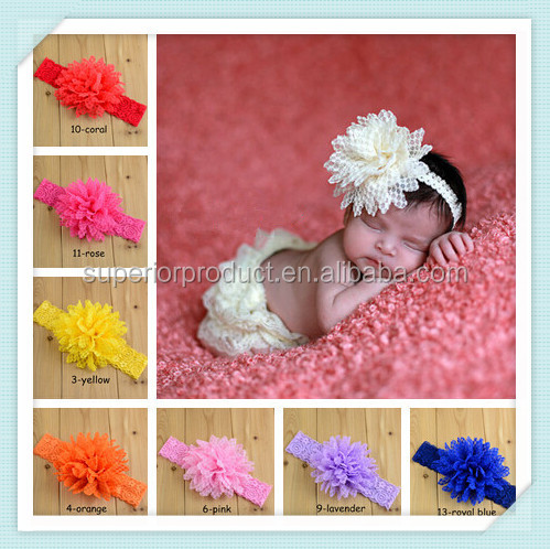 Hot Sale Children Hair Accessories 14 Color Baby Girls Chiffon Flower Lace Headband