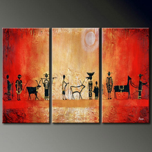 abstract ancient people 3 panel oil painting on canvas handmade home decor