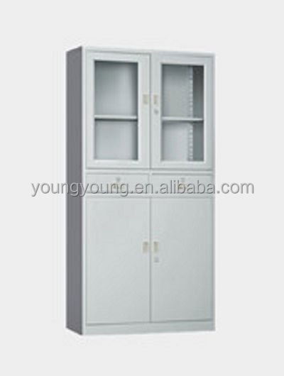 Artistic design half glass swing door stainless steel office file cabinet