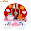 wholesale kids wooden mushroom shape toy kitchen play set role play children wooden miniature toy kitchen play set
