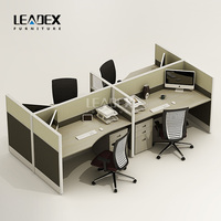 Luxury wooden open 4 person modular cubicle office workstation partition