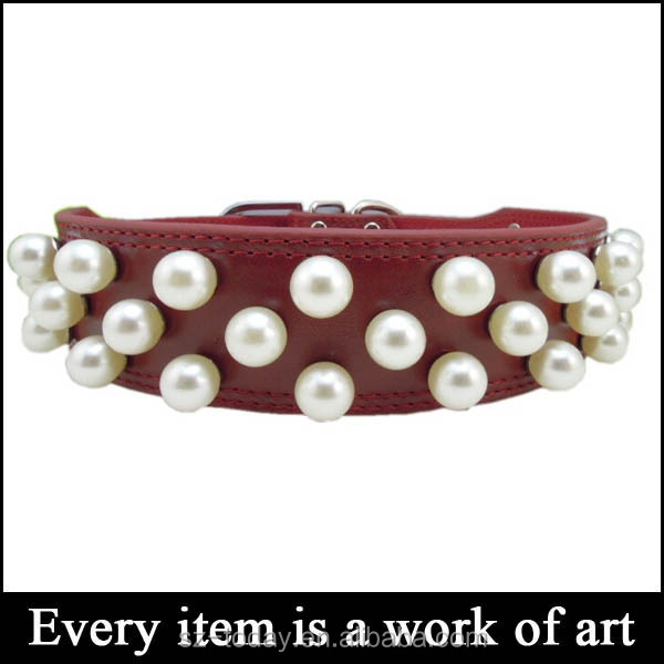 2014 the new leather dogs collars High-grade pearl pet for dog