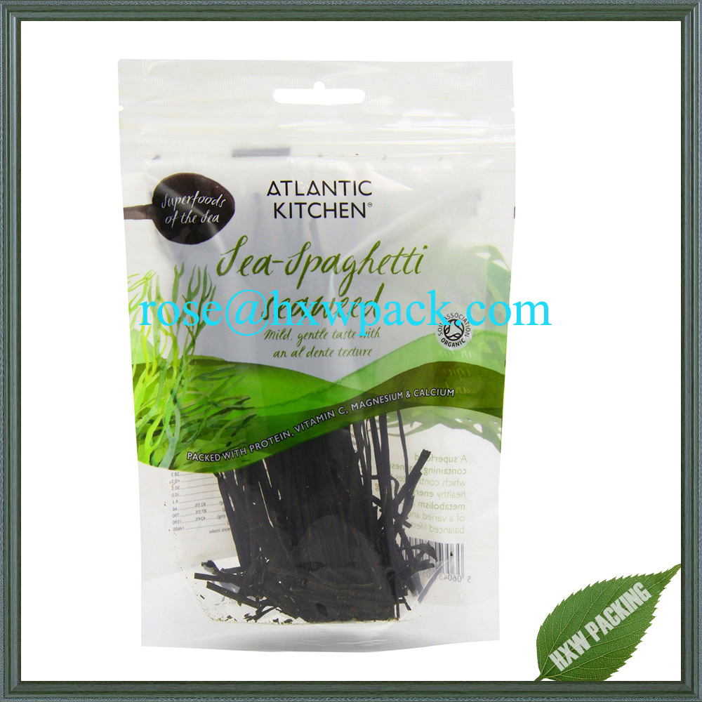 Top quality food grade material food packing plastic bag with zipper and hang hole for seaweed food
