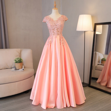 Guangzhou evening dresses bling bling diamond pink princess tube cap sleeve V-neck party fashion aline appliqued wrap dress