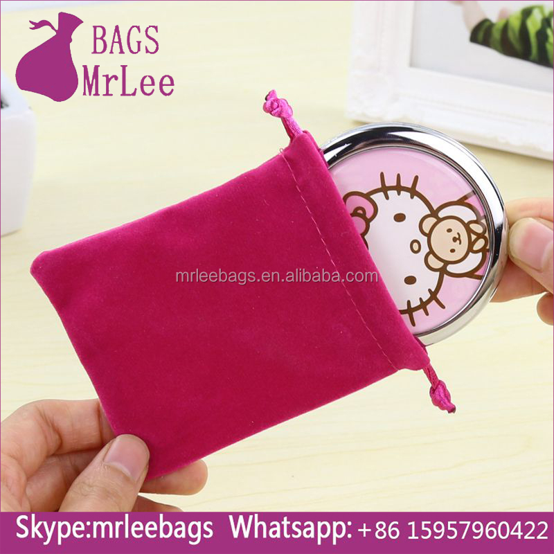 2017 new design velvet mirror pouches drawstring cosmetic mirror dust bags