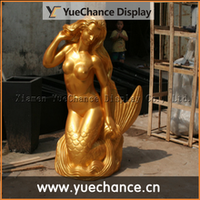 gold fiberglass Mermaid sculpture