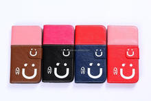 Cute Style Smart Phone Wallet leather Case For Samsung Galaxy S5 with Smile Face