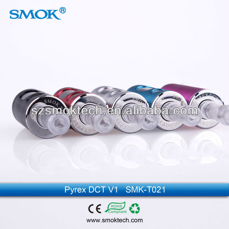 Smoktech new Pyrex borosilicate Glass DCT-V1 Tube Tanks 6ml clearomizer with Locking pure taste