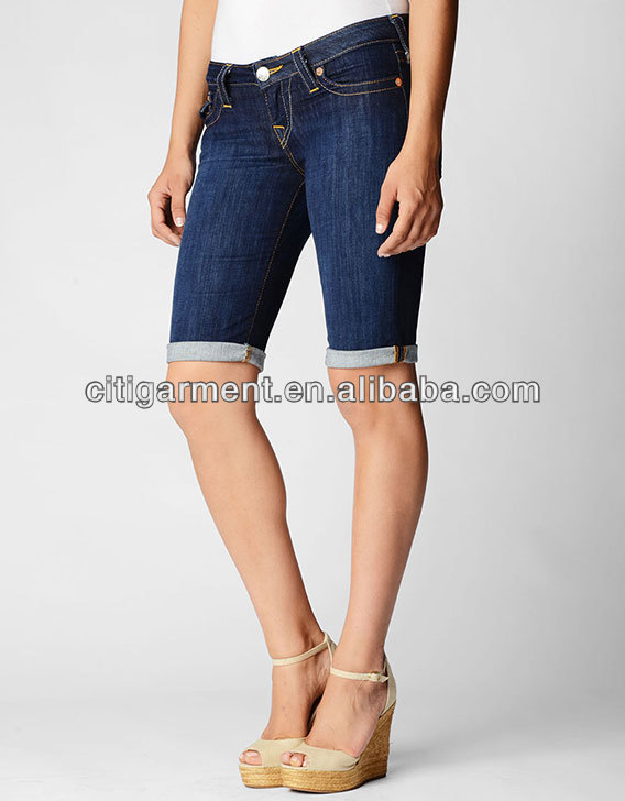WOMENS SALLY LOW RISE FLAP POCKET CUFFED DENIM SHORTS VV0084