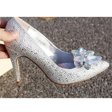 top quality luxury designer 10cm high heel sheepskin lining bridal wedding crystal shoes