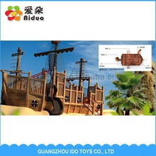 Professional wooden kids play pirate ship outdoor playground for sale