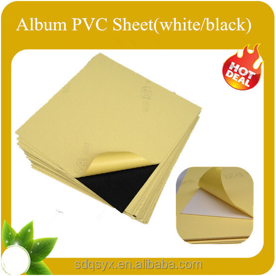 JInan factory Self adhesive rigid album insert sheet PVC page sheets(Black and white color)
