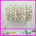 artificial rhinestone trimming bicycle chain with cream white pearl in roll for clothes ,Shoes,handbag,Bracelet decoration