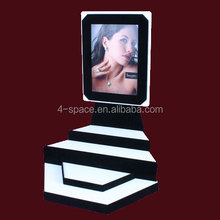 acrylic largehexagon design jewellery display stand with clear image poster