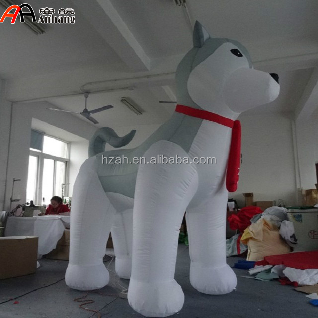 Giant Inflatable Husky Cartoon with Red Scarf