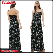 2017 New Ladis Low Cut Long Black Slip Dress Print Floral Summer Woman Maxi Dress