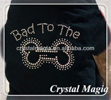 stick on rhinestone letters on T-shirt