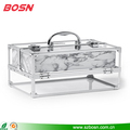 Hot Sell Beautiful Professional Acrylic Storage Cosmetic Display Case with Chrome Frame for Sale