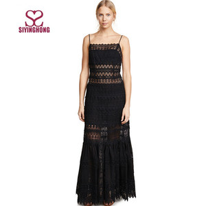 Fashion black lace hollow out backless sexy long evening dress women maxi dress