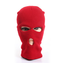 wholesale custom winter knitted full face mask red ski mask 3 hole